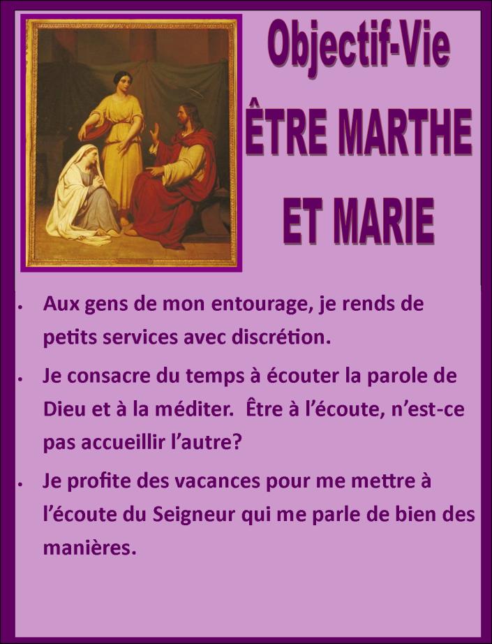 Objectif Vie être Marthe et Marie