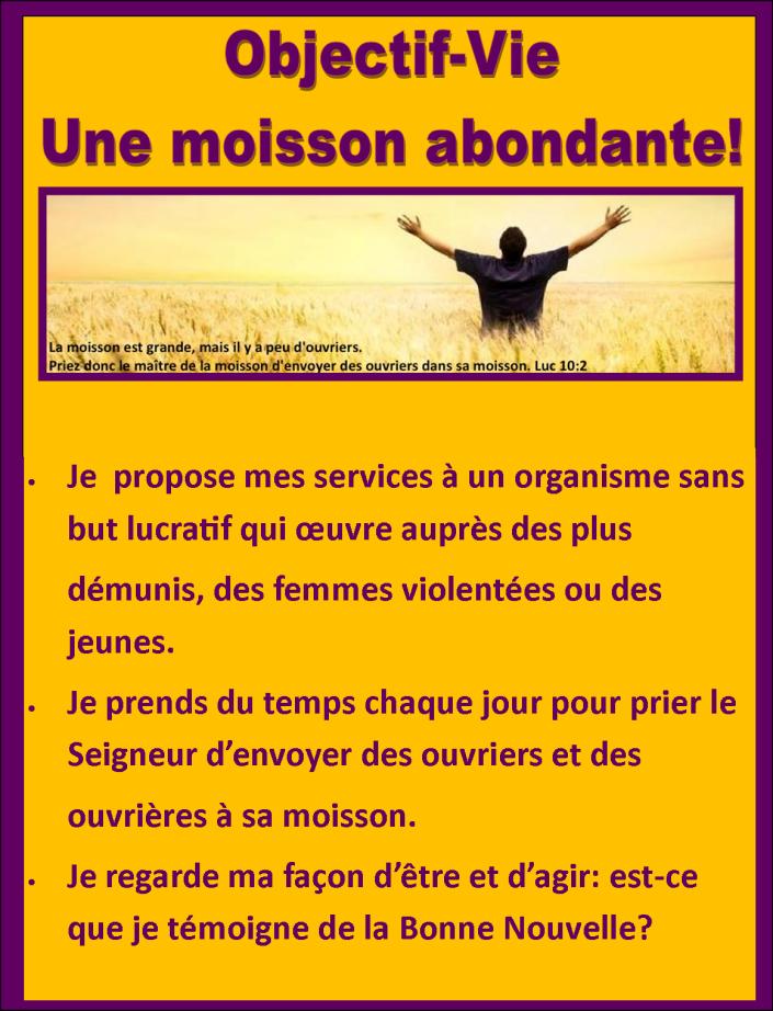 Objectif-vie Moisson abondante
