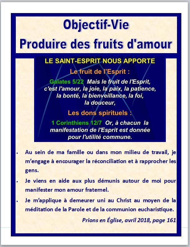 Objectif vie produire des fruits d'amour