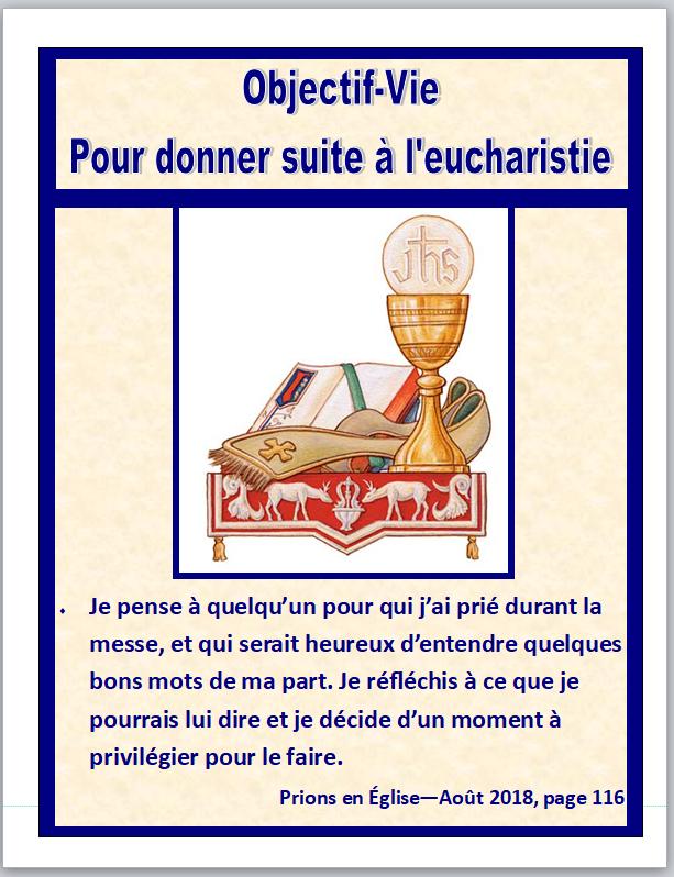Objectif vie pour donner suite à l'eucharistie
